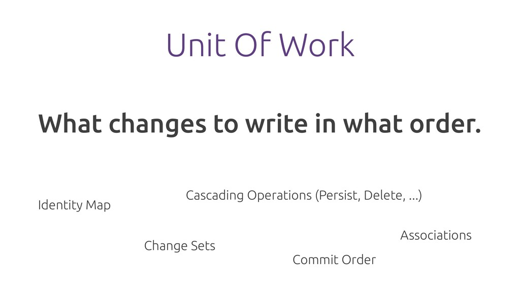 Unit Of Work What changes to write in what orde...