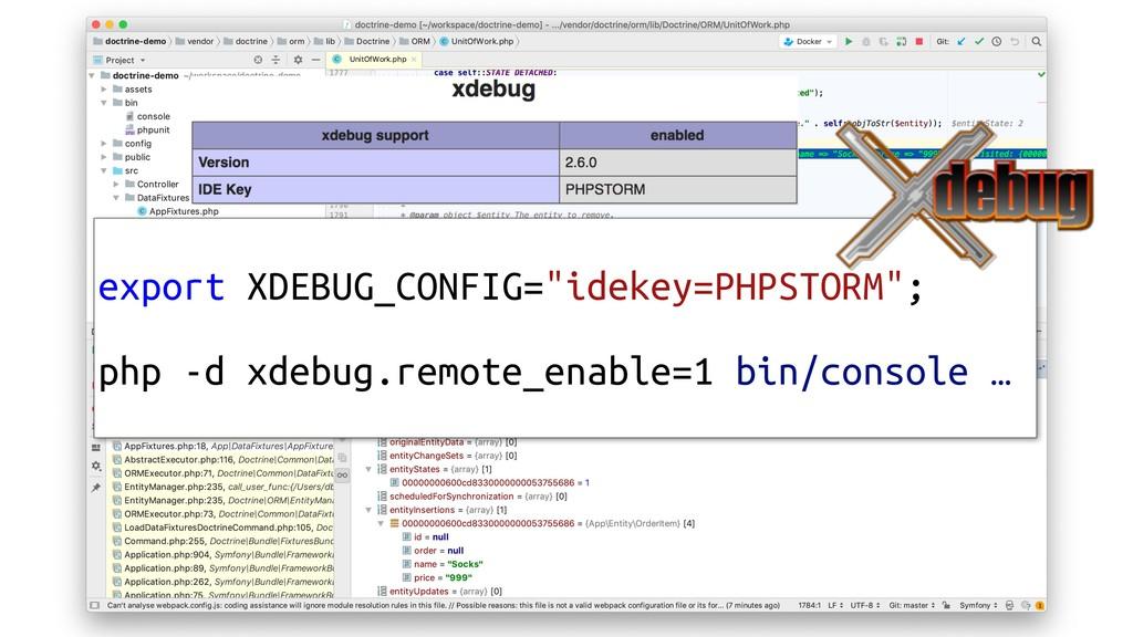 "export XDEBUG_CONFIG=""idekey=PHPSTORM""; php -d ..."