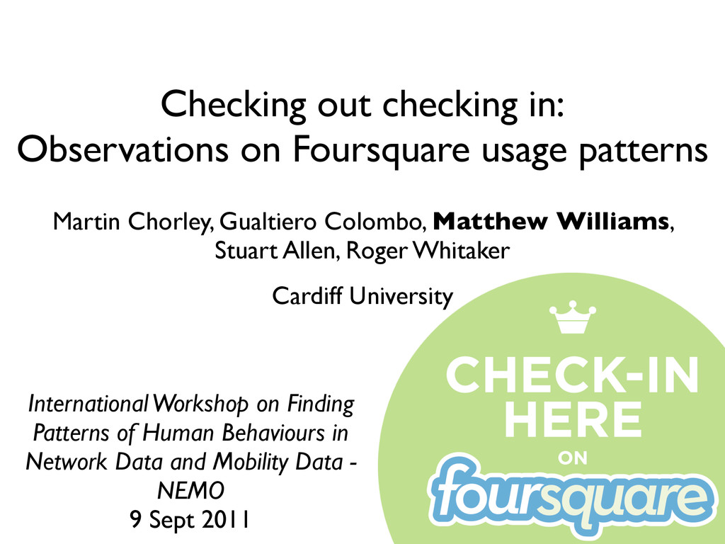 Checking out checking in: Observations on Fours...