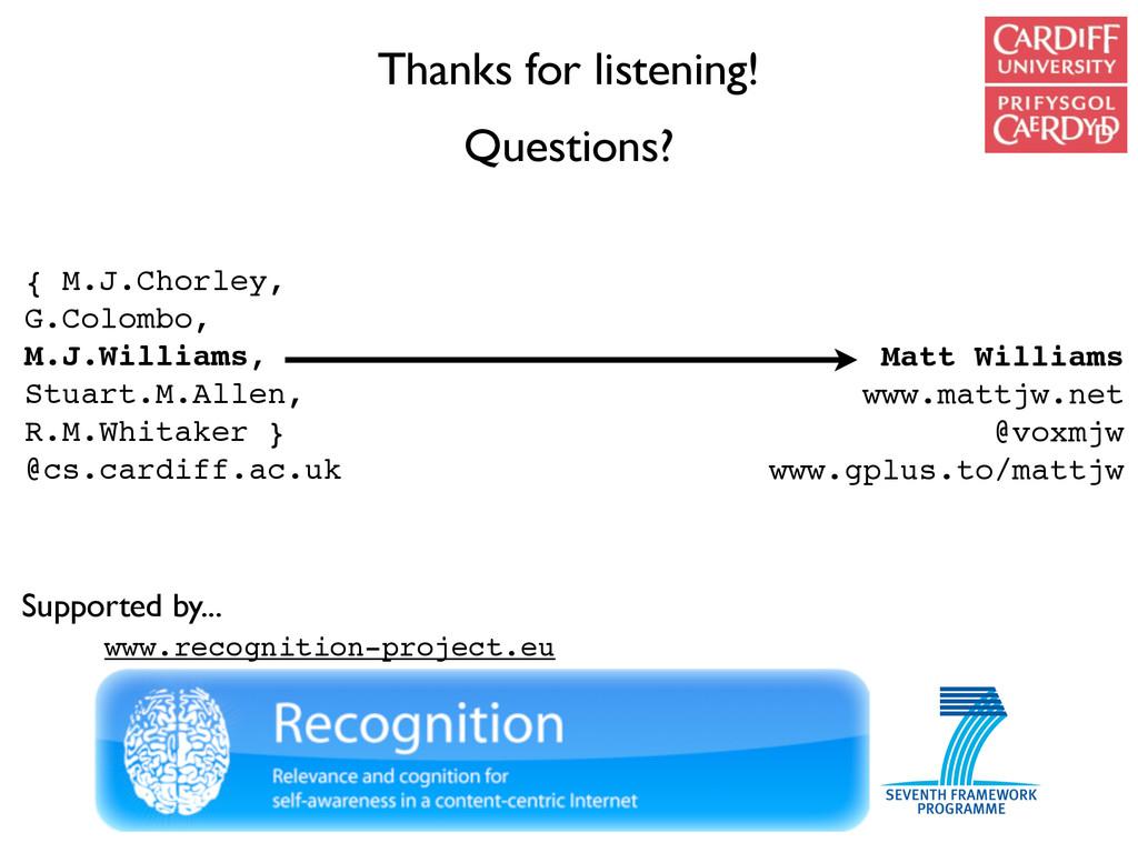 Thanks for listening! Questions? Matt Williams ...