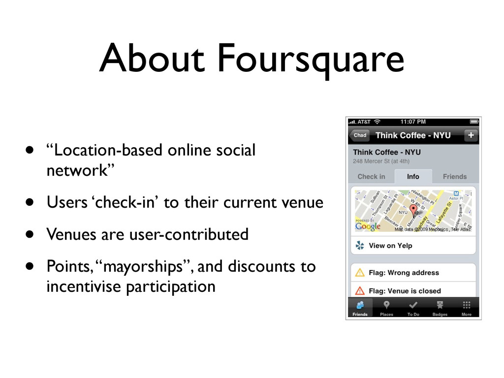 """About Foursquare • """"Location-based online socia..."""