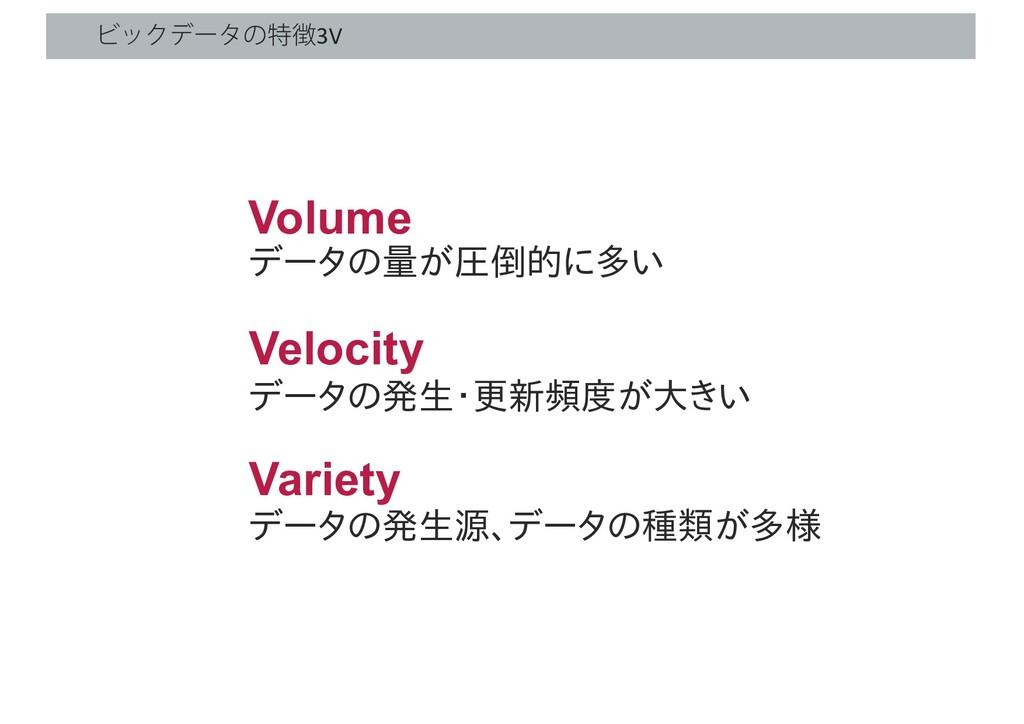 ϏοΫσʔλͷಛ3V Volume Velocity Variety データの量が圧倒的に多...
