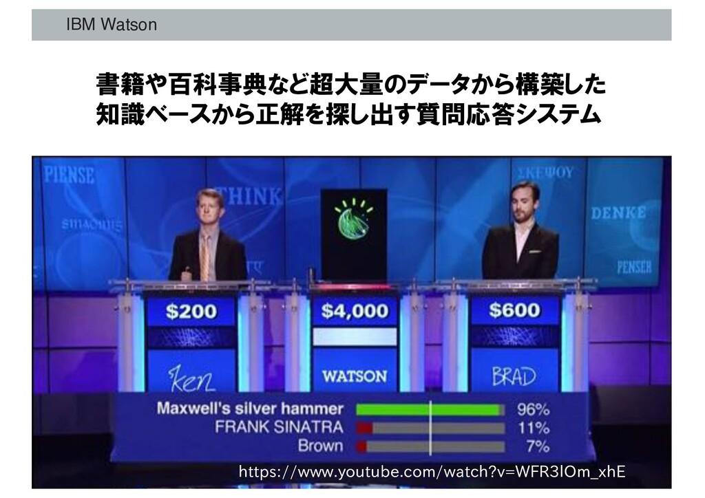 IBM Watson 書籍や百科事典など超大量のデータから構築した 知識ベースから正解を探し出...