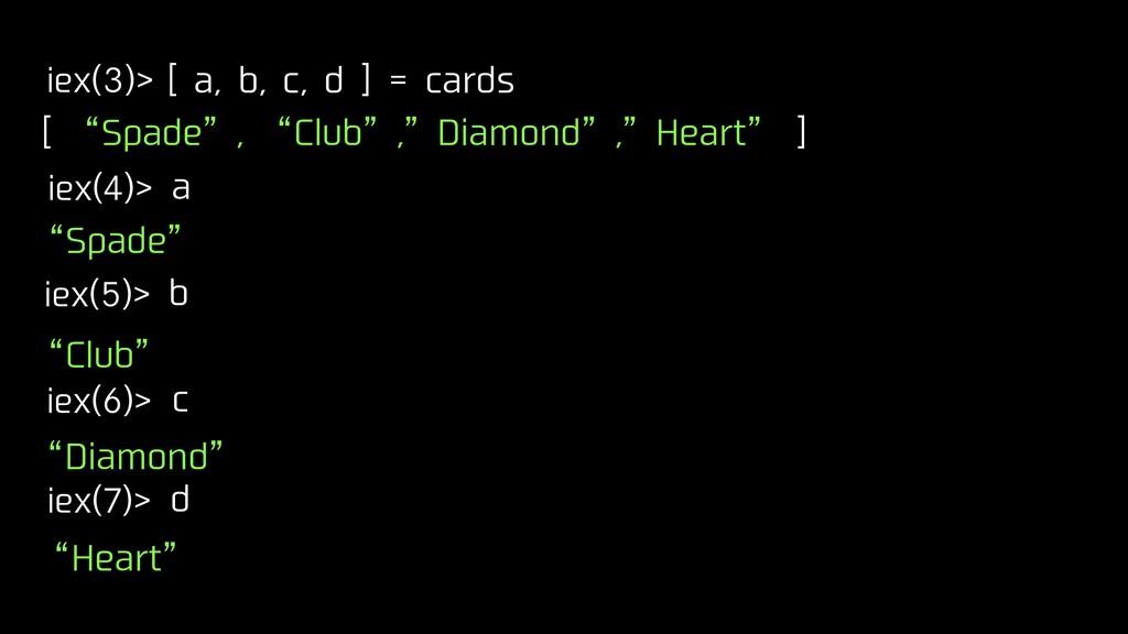 """iex(3)> [ a, b, c, d ] = cards iex(4)> a [ """"Spa..."""