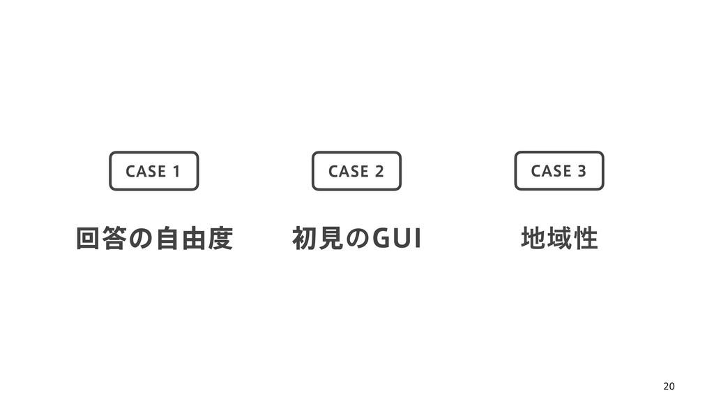 20 ճͷࣗ༝ CASE 1 ॳݟͷGUI CASE 2 Ҭੑ CASE 3