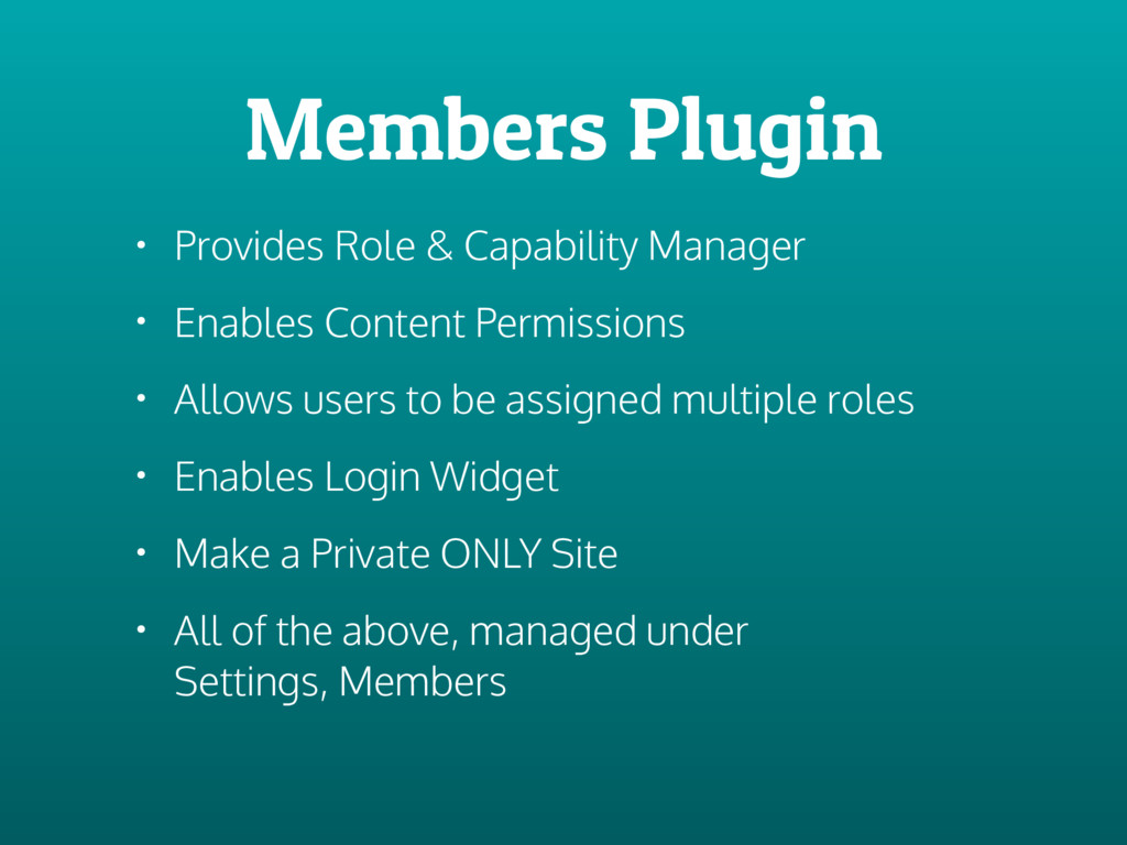 Members Plugin • Provides Role & Capability Man...
