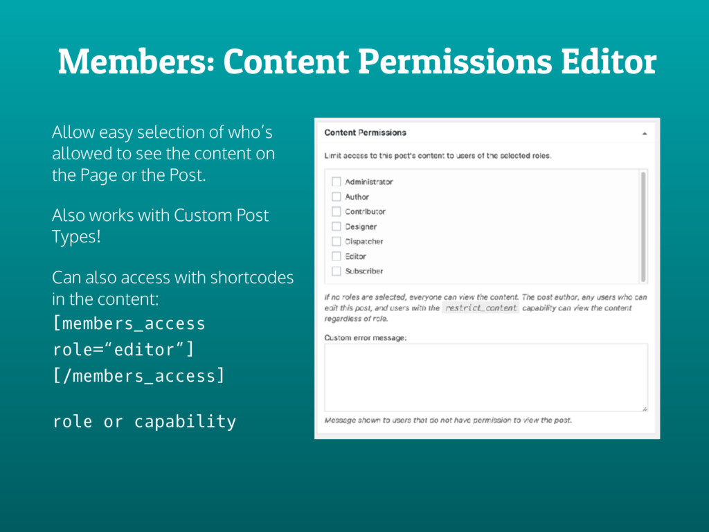 Members: Content Permissions Editor Allow easy ...