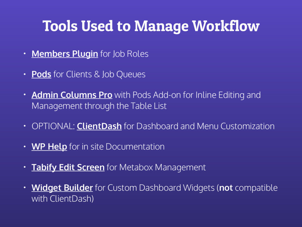 Tools Used to Manage Workflow • Members Plugin ...