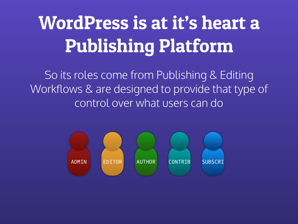 WordPress is at it's heart a Publishing Platfor...