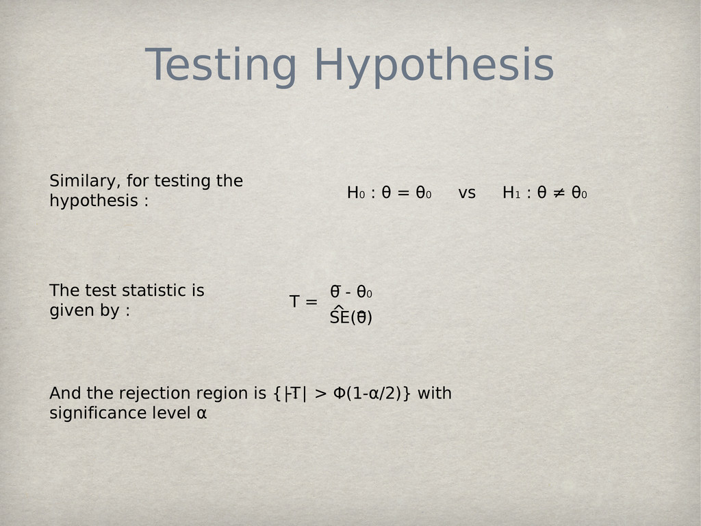 Testing Hypothesis Similary, for testing the hy...