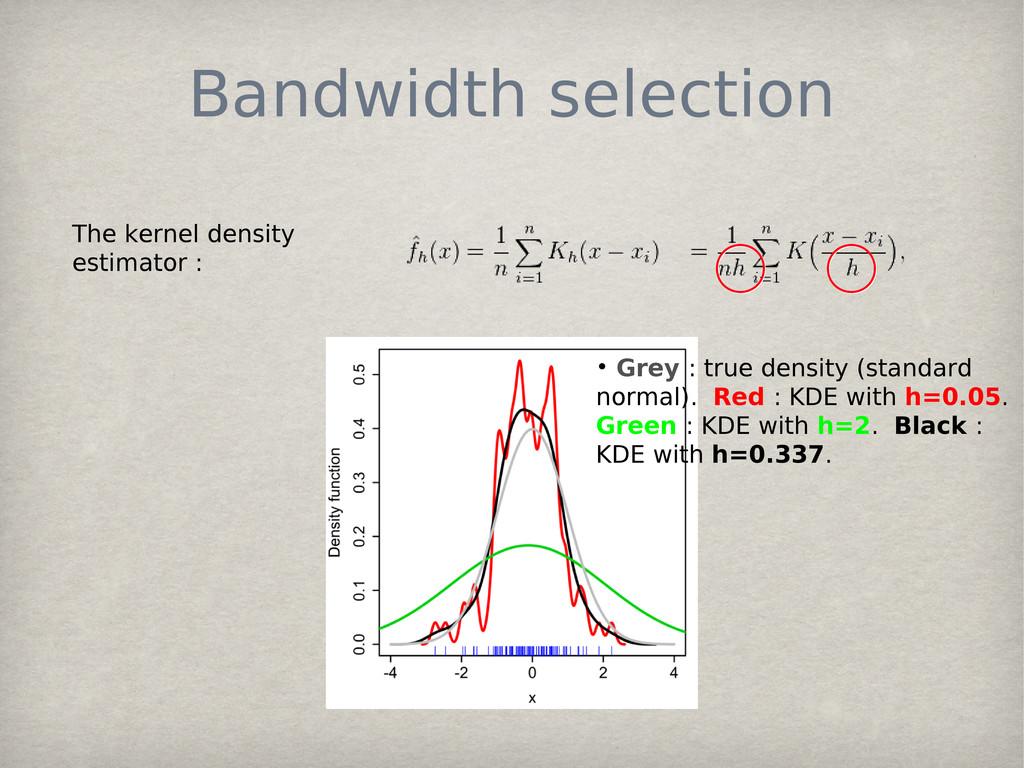 Bandwidth selection The kernel density estimato...
