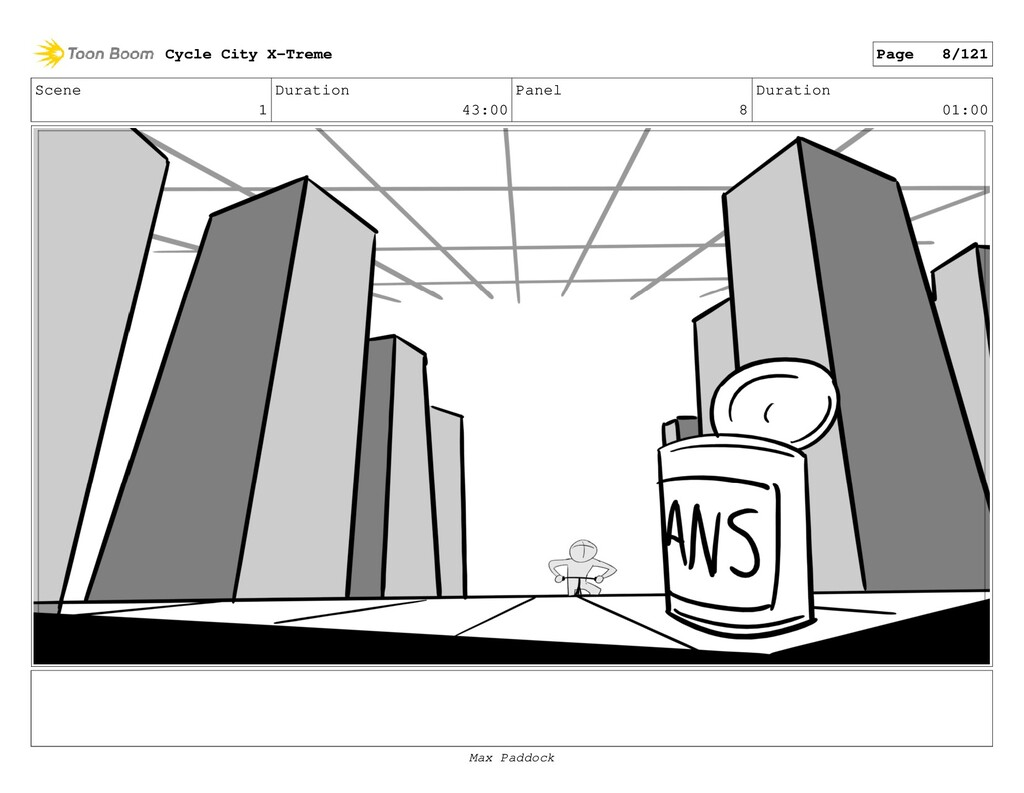 Scene 1 Duration 43:00 Panel 8 Duration 01:00 C...
