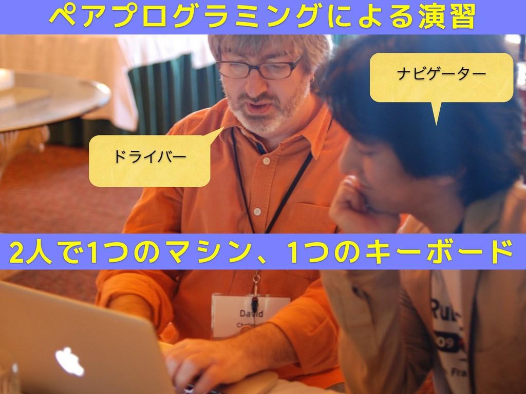 υϥΠόʔ φϏήʔλʔ 2人で1つのマシン、1つのキーボード ペアプログラミングによる演習