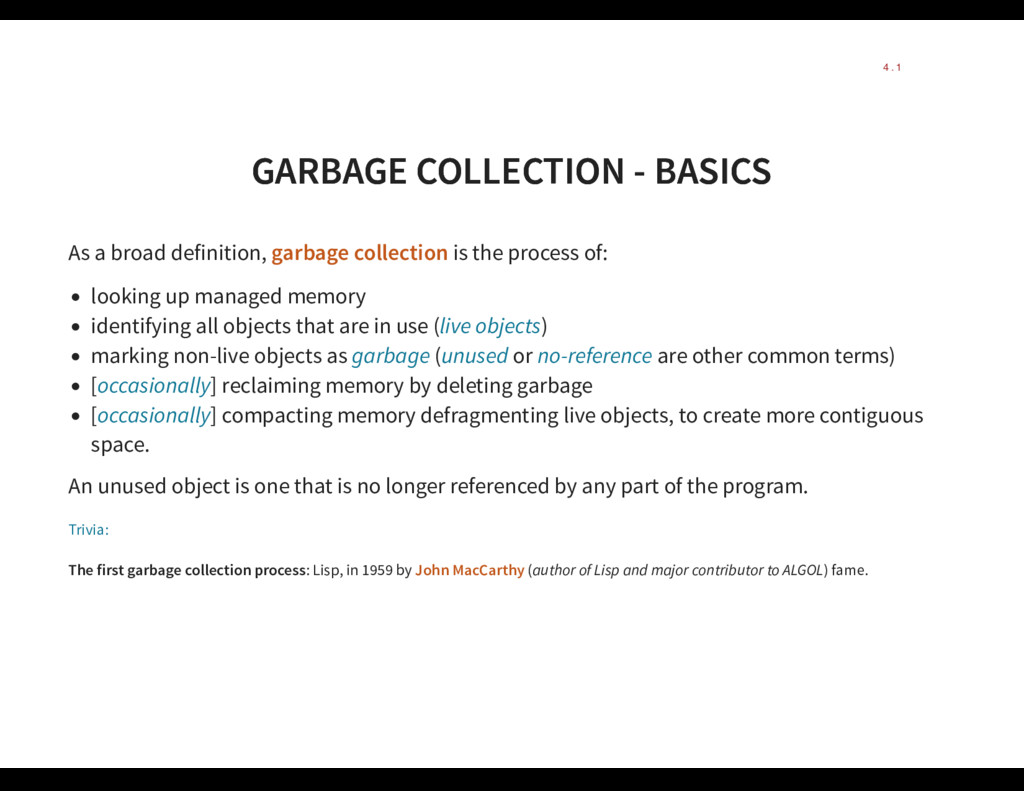 GARBAGE COLLECTION - BASICS GARBAGE COLLECTION ...