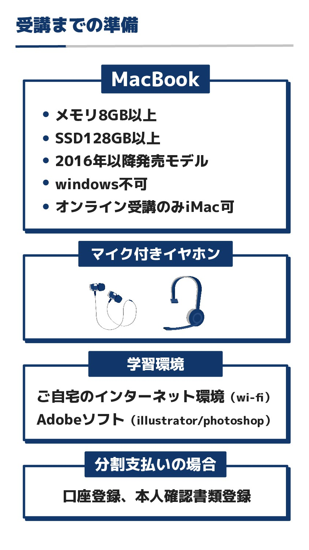 受講までの準備 MacBook メモリ8GB以上 SSD128GB以上 2016年以降発売モデ...