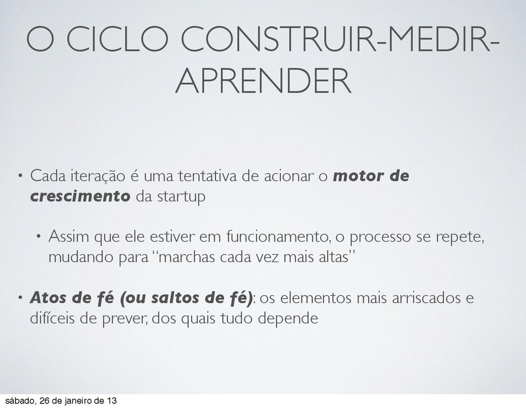 O CICLO CONSTRUIR-MEDIR- APRENDER • Cada iteraç...