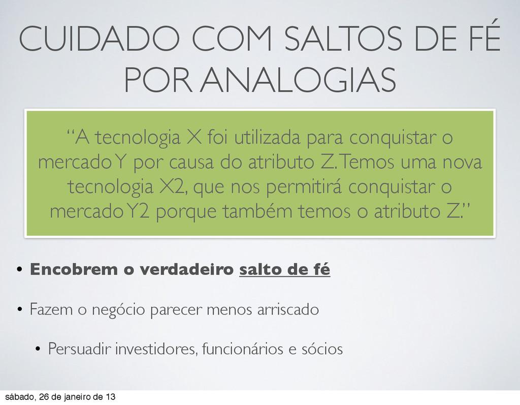 CUIDADO COM SALTOS DE FÉ POR ANALOGIAS • Encobr...