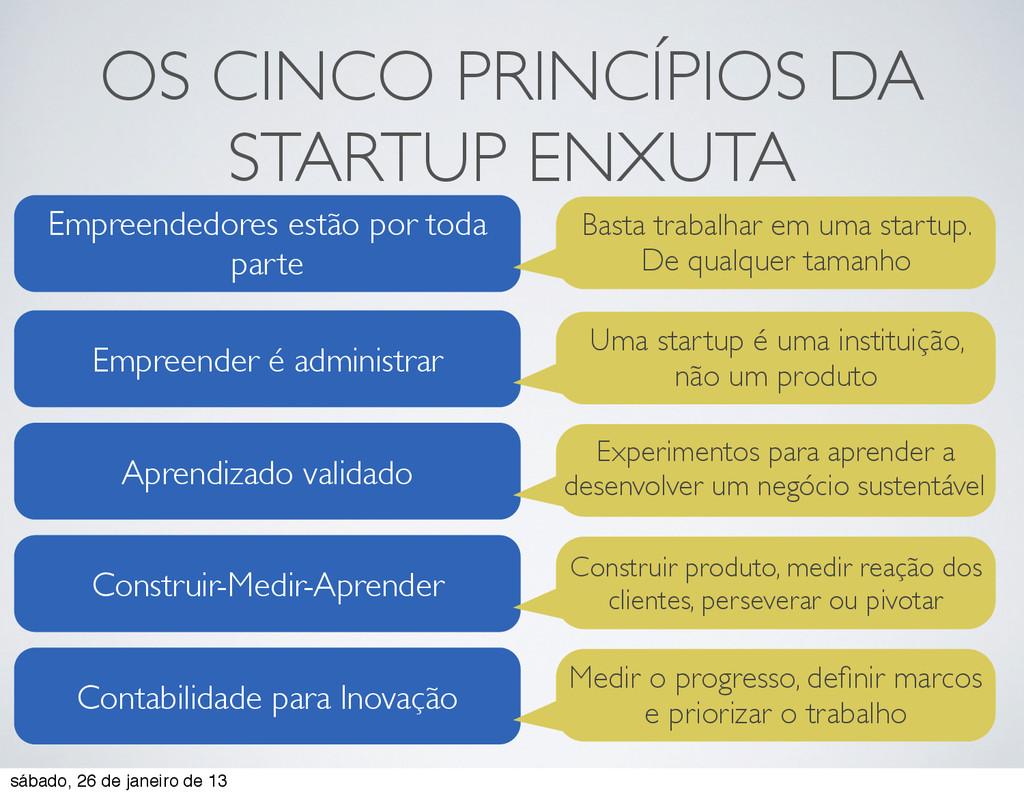 OS CINCO PRINCÍPIOS DA STARTUP ENXUTA Empreende...