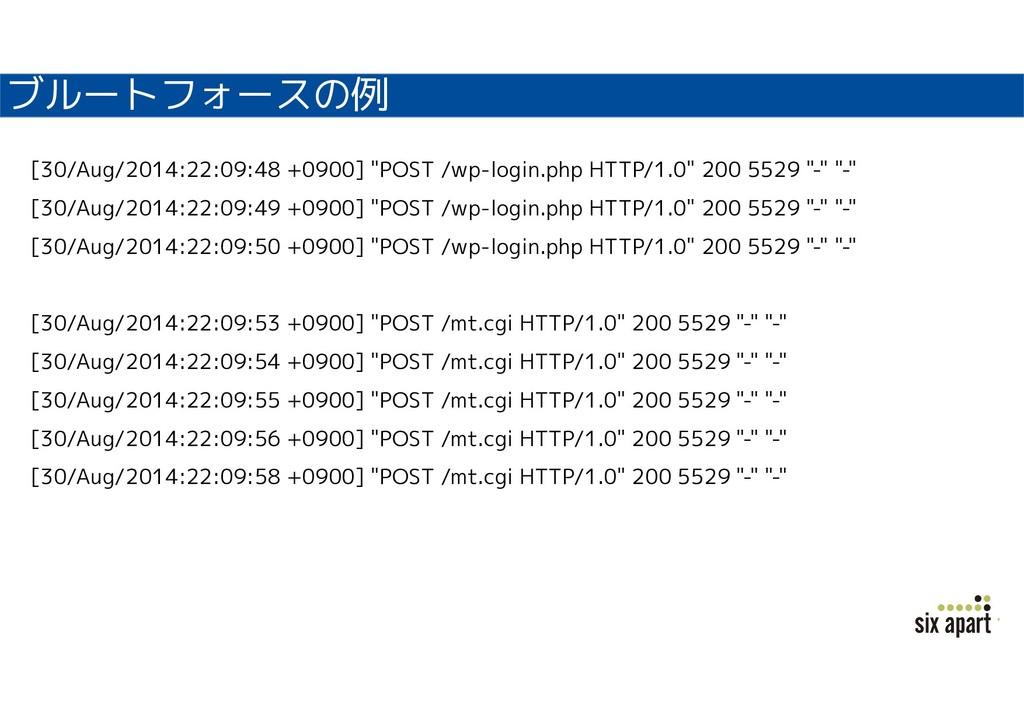 """ブルートフォースの例 [30/Aug/2014:22:09:48 +0900] """"POST /..."""
