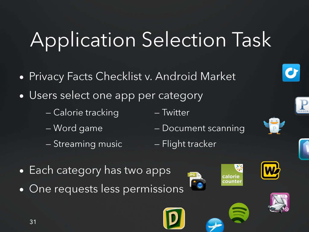 Application Selection Task • Privacy Facts Chec...