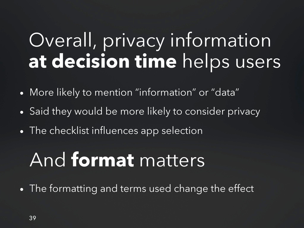 Overall, privacy information at decision time h...