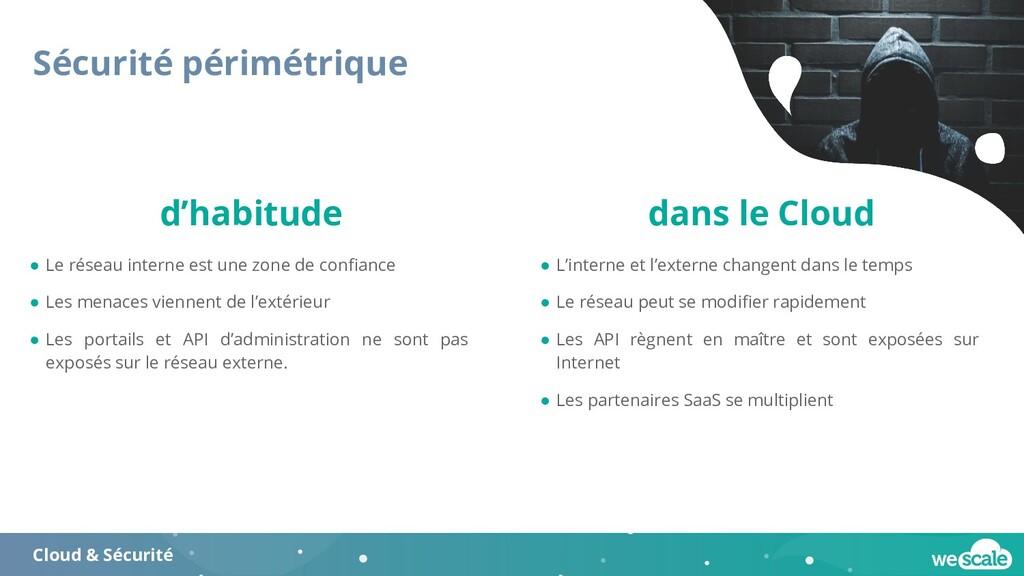 Sécurité périmétrique Cloud & Sécurité ● Le rés...