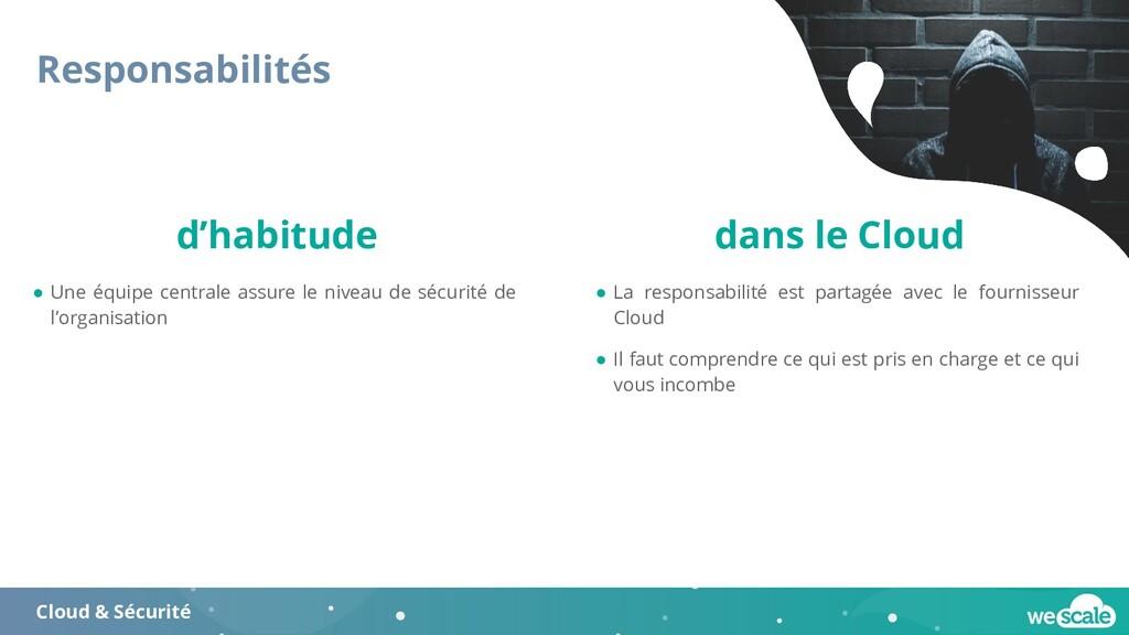 Responsabilités Cloud & Sécurité ● Une équipe c...