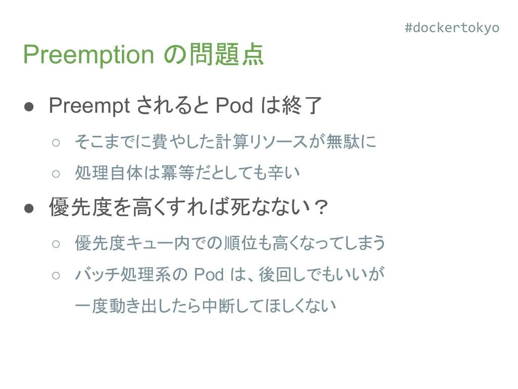 Preemption の問題点 ● Preempt されると Pod は終了 ○ そこまでに費...