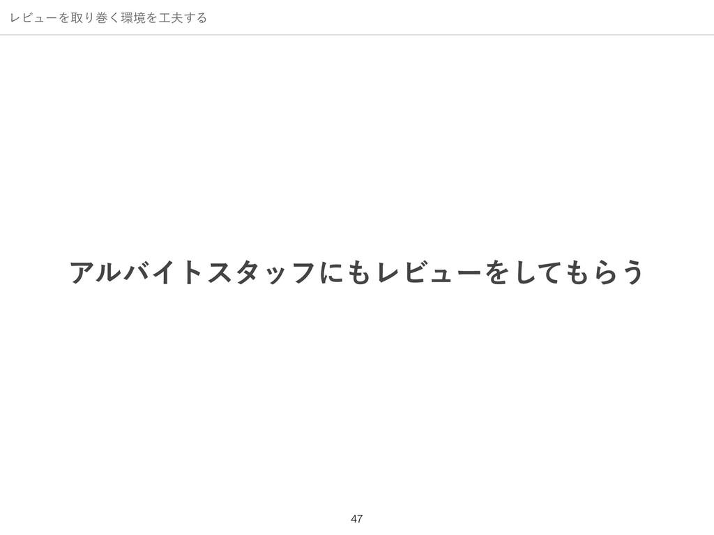 ϨϏϡʔΛऔΓר͘ڥΛ͢Δ ΞϧόΠτελοϑʹϨϏϡʔΛͯ͠Β͏ !47