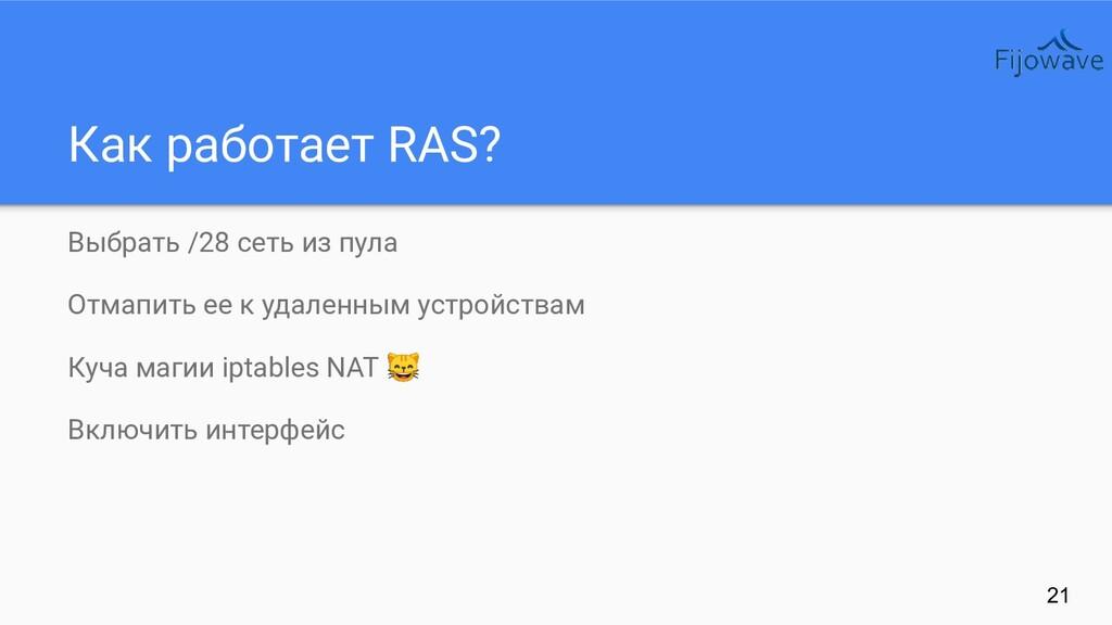 Как работает RAS? 21 Выбрать /28 сеть из пула О...