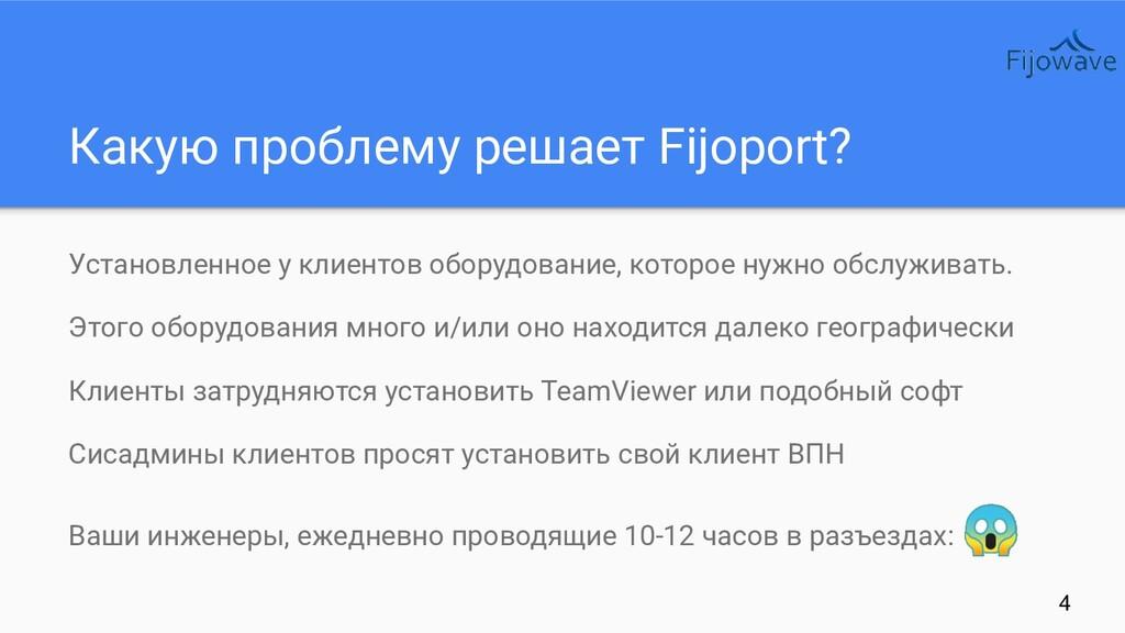 Какую проблему решает Fijoport? Установленное у...