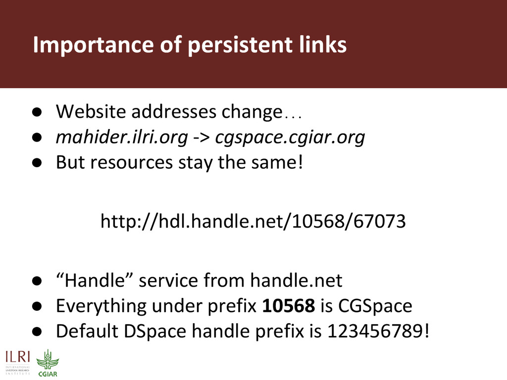Importance of persistent links ● Website addres...