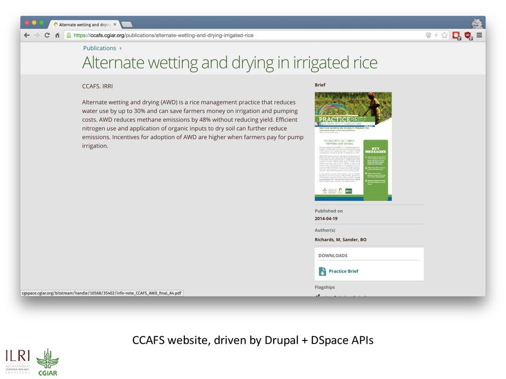 CCAFS website, driven by Drupal + DSpace APIs