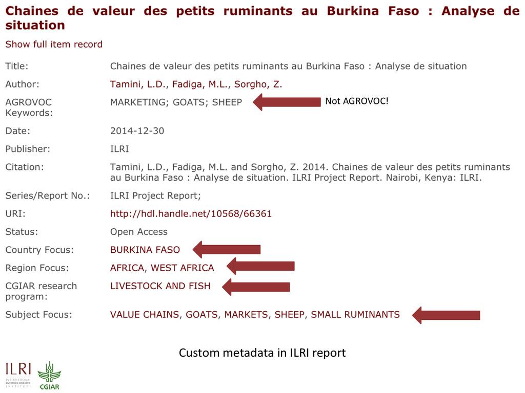 Custom metadata in ILRI report Not AGROVOC!