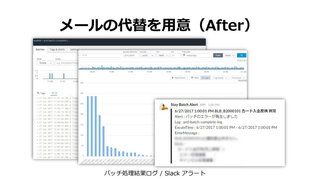 メールの代替を用意(After) バッチ処理結果ログ / Slack アラート