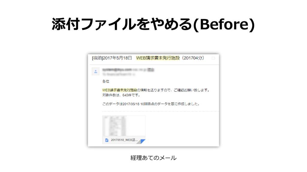 添付ファイルをやめる(Before) 経理あてのメール