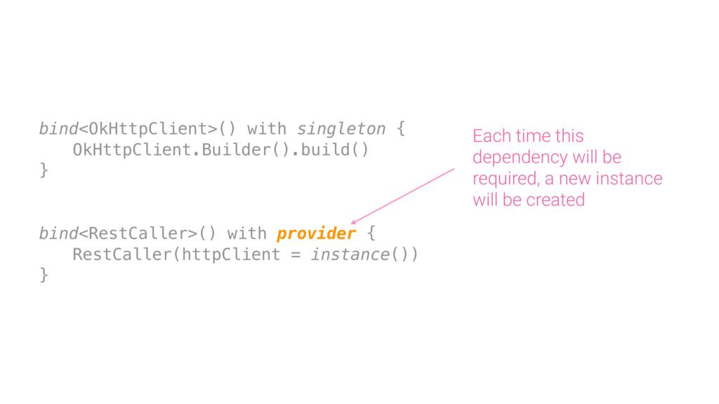 bind<OkHttpClient>() with singleton { OkHttpCli...