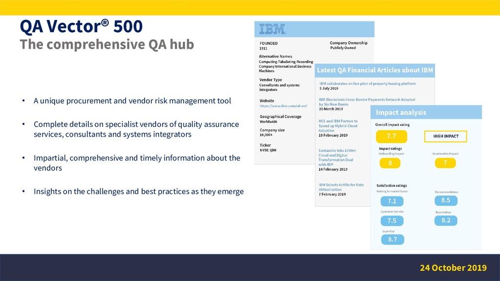 QA Vector® 500 The comprehensive QA hub • A uni...