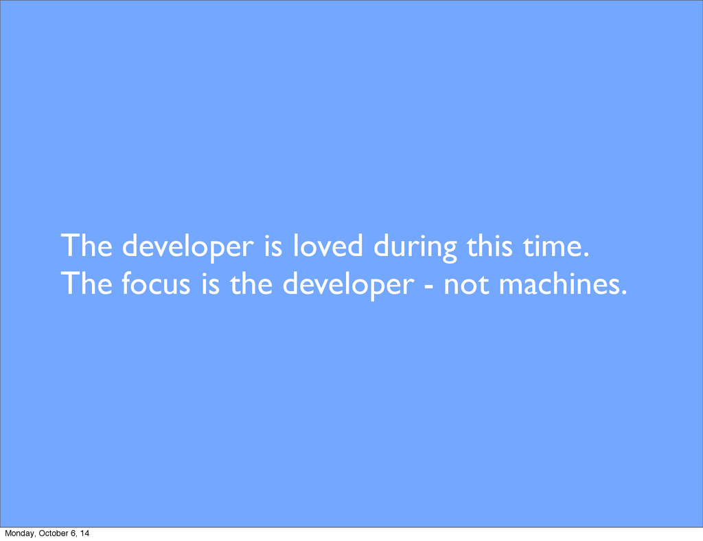 The developer is loved during this time. The fo...