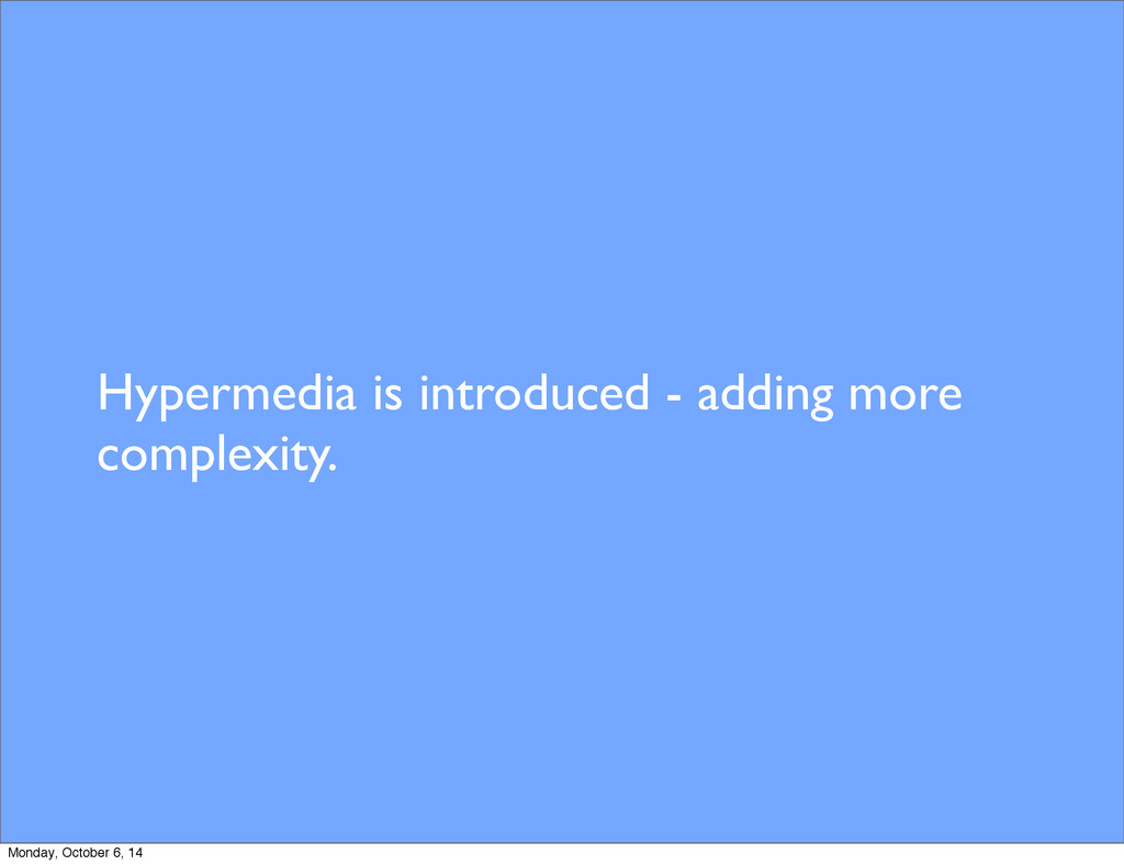 Hypermedia is introduced - adding more complexi...