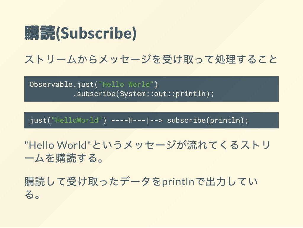 """(Subscribe) Observable.just(""""Hello World"""") .sub..."""