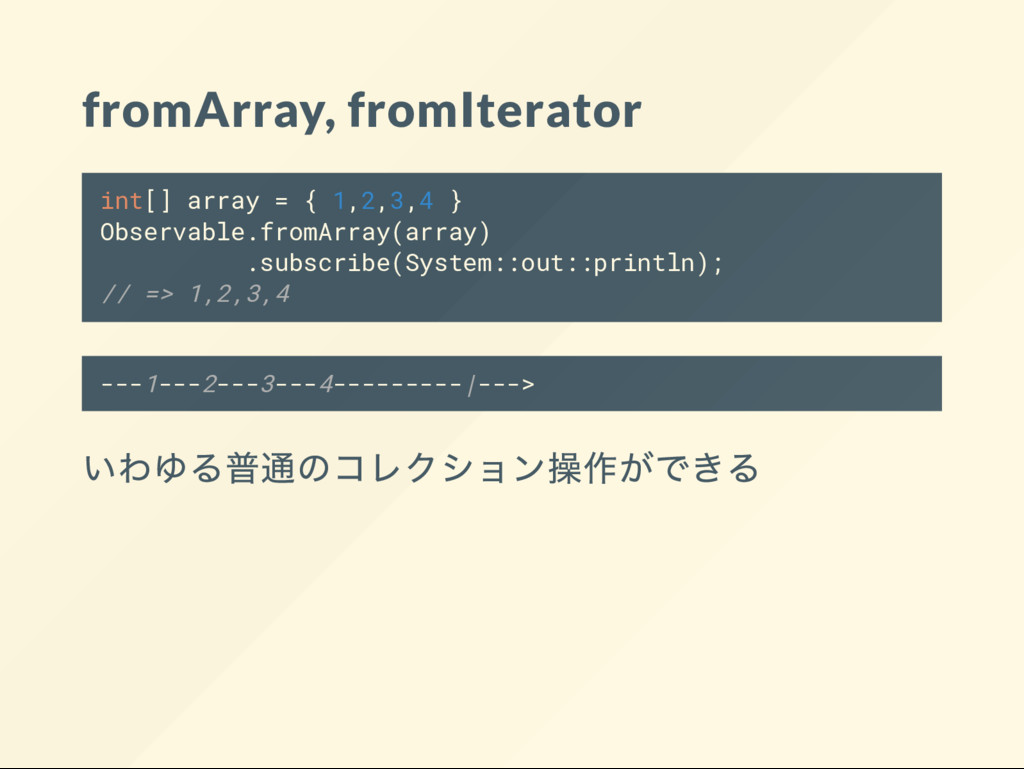 fromArray, fromIterator int[] array = { 1,2,3,4...