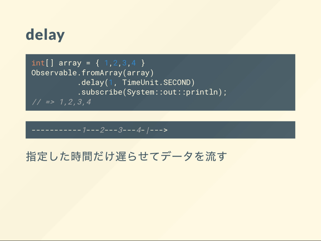 delay int[] array = { 1,2,3,4 } Observable.from...