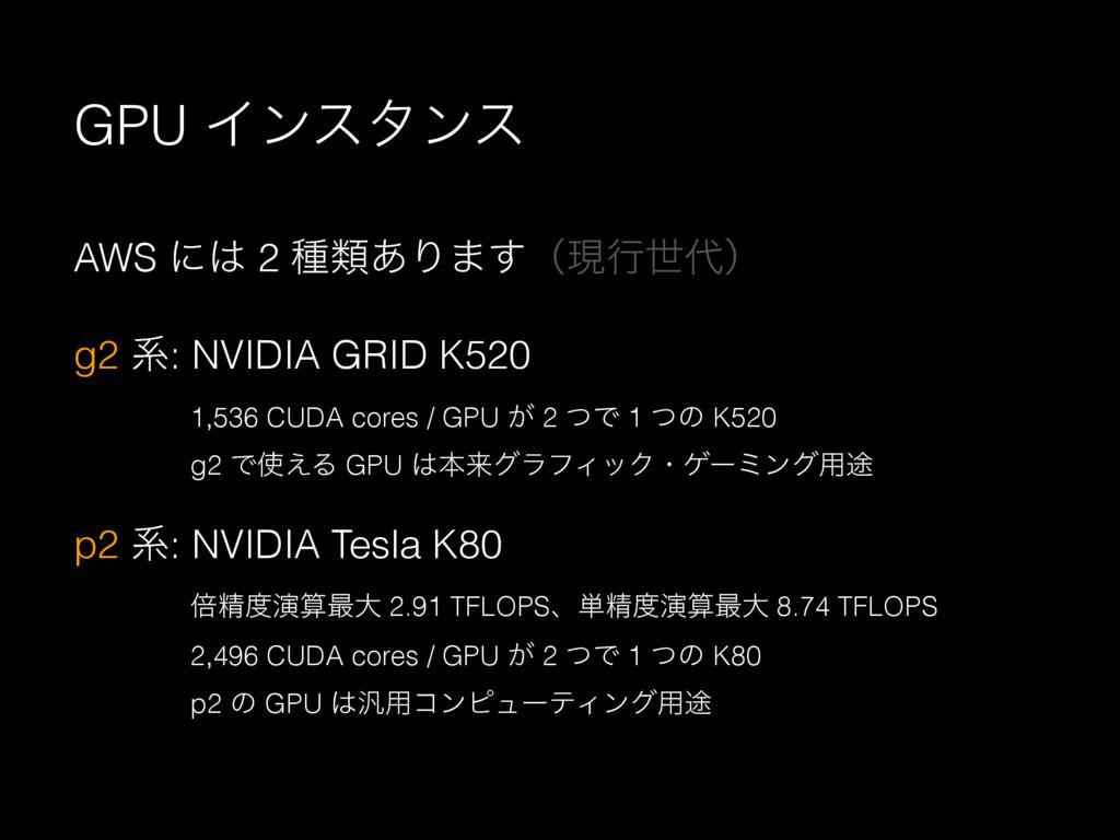 GPU Πϯελϯε AWS ʹ 2 छྨ͋Γ·͢ʢݱߦੈʣ g2 ܥ: NVIDIA G...