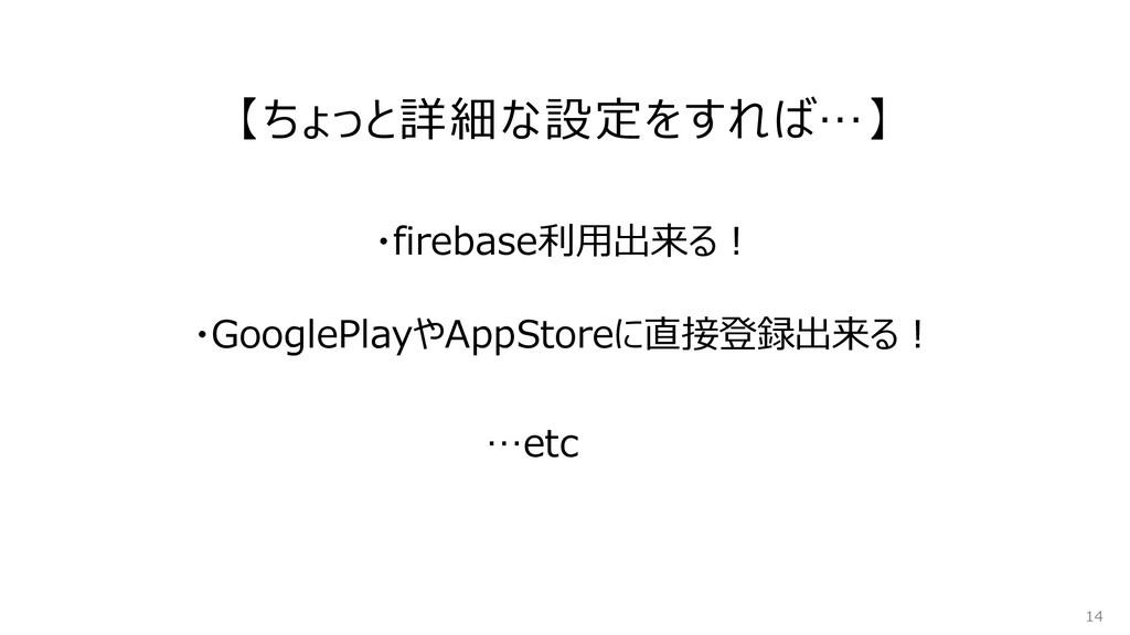 【ちょっと詳細な設定をすれば…】 14 ・GooglePlayやAppStoreに直接登録出来...