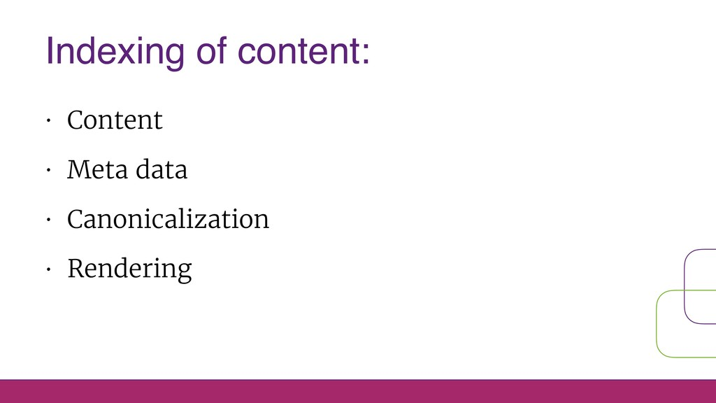 • Content • Meta data • Canonicalization • Rend...
