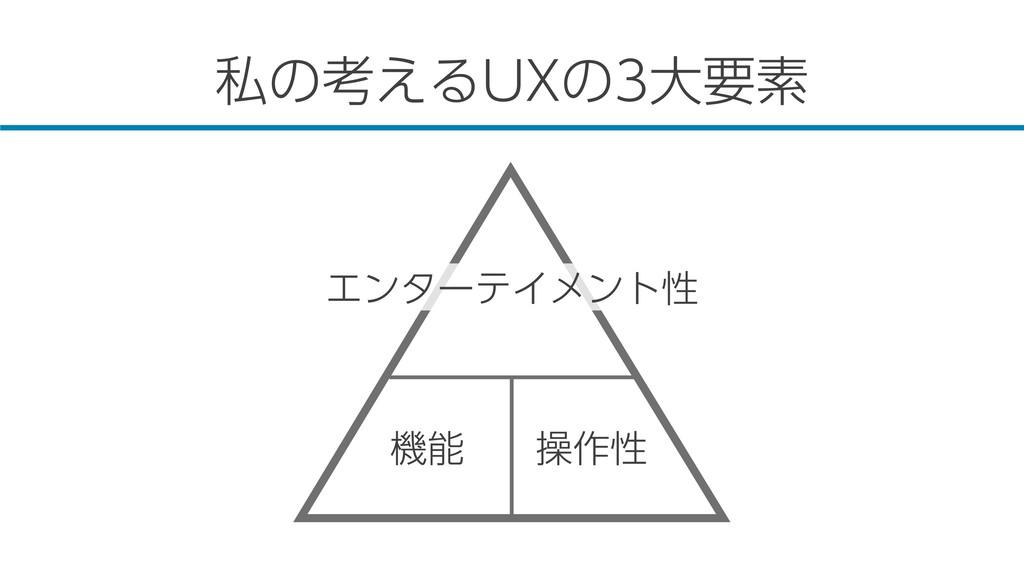私の考えるUXの3大要素 エンターテイメント性 機能 操作性