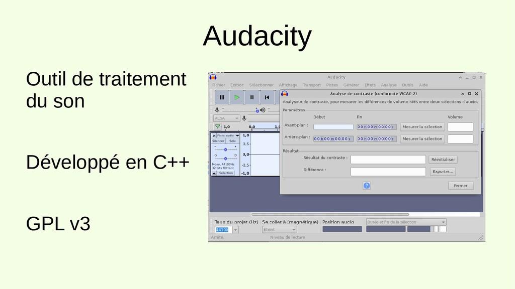 Audacity Outil de traitement du son Développé e...