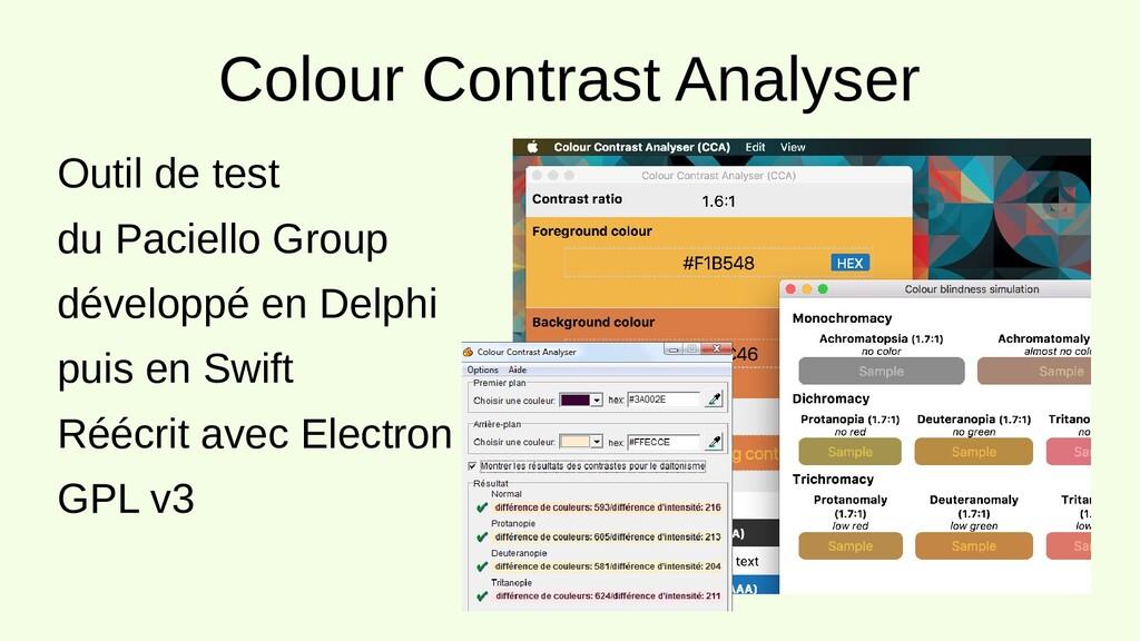 Colour Contrast Analyser Outil de test du Pacie...
