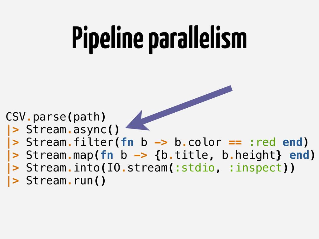 Pipeline parallelism CSV.parse(path) |> Stream....